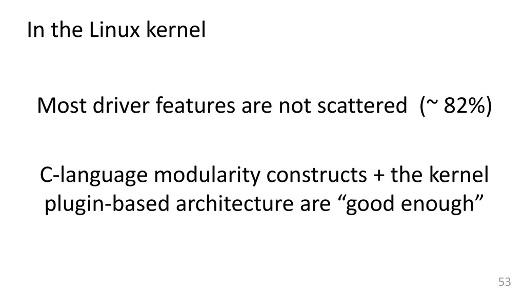 53 In the Linux kernel Most driver features are...