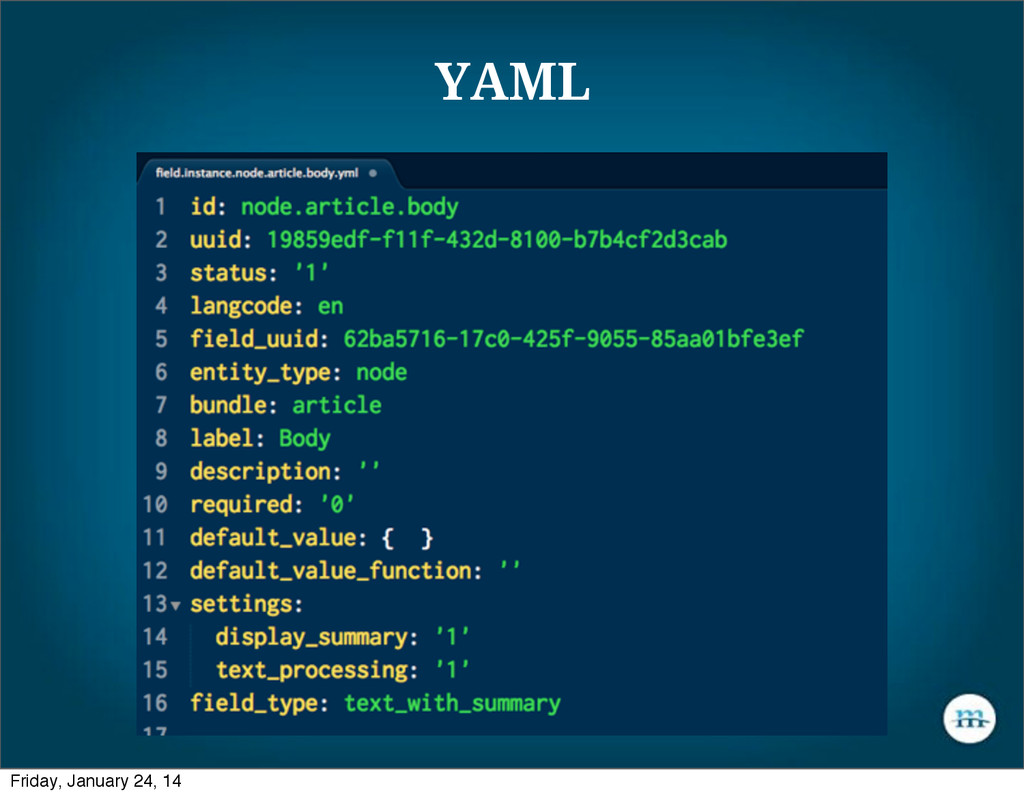 YAML Friday, January 24, 14