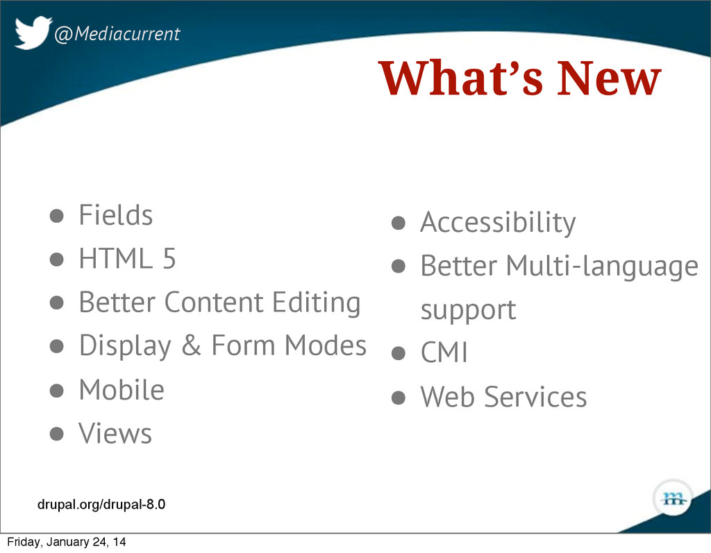 What's New • Fields • HTML 5 • Better Content E...