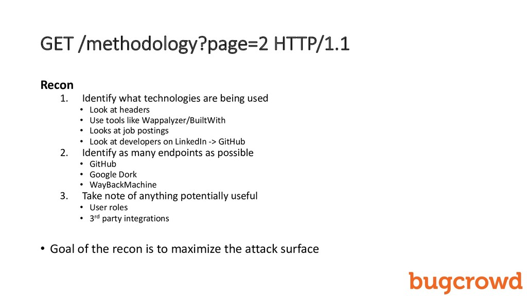 GET /methodology?page=2 HTTP/1.1 Recon 1. Ident...