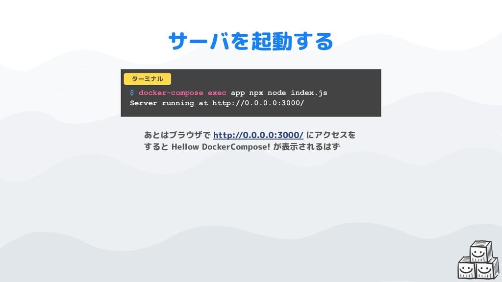$ docker-compose exec app npx node index.js Ser...