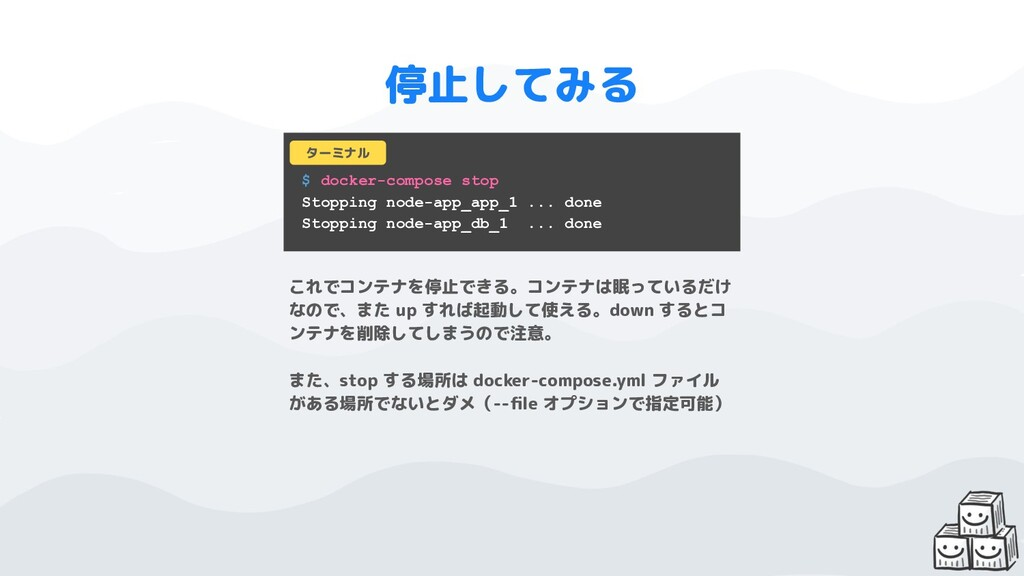 $ docker-compose stop Stopping node-app_app_1 ....