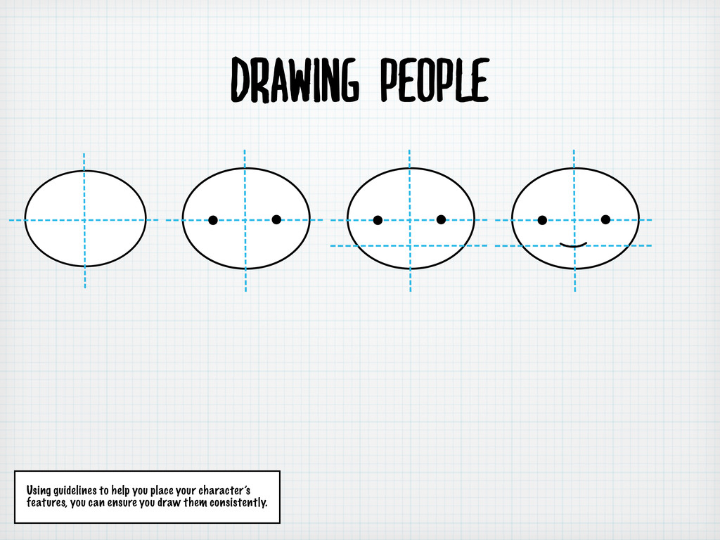 Drawing people Using guidelines to help you pla...