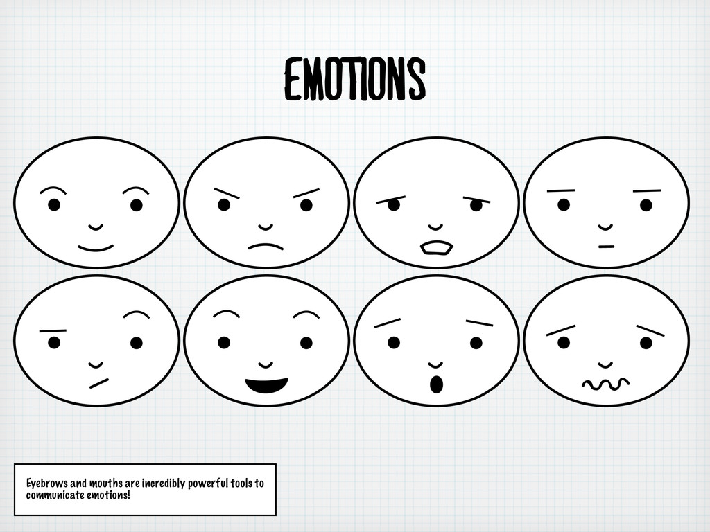 Emotions Eyebrows and mouths are incredibly pow...