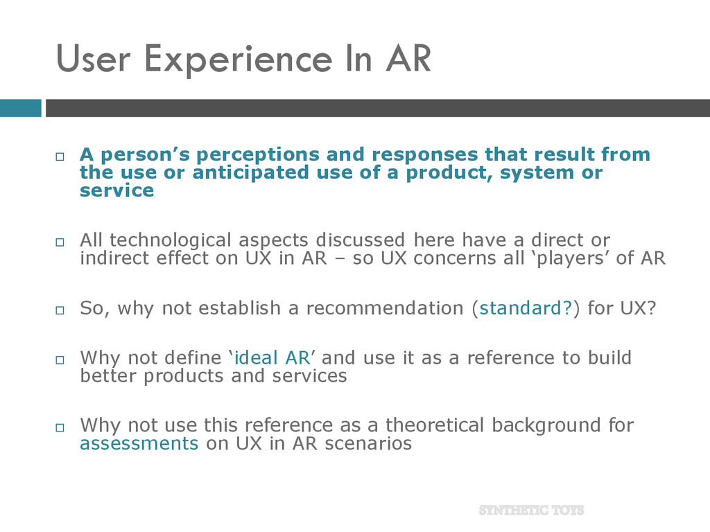 User Experience In AR  A person's perceptions ...