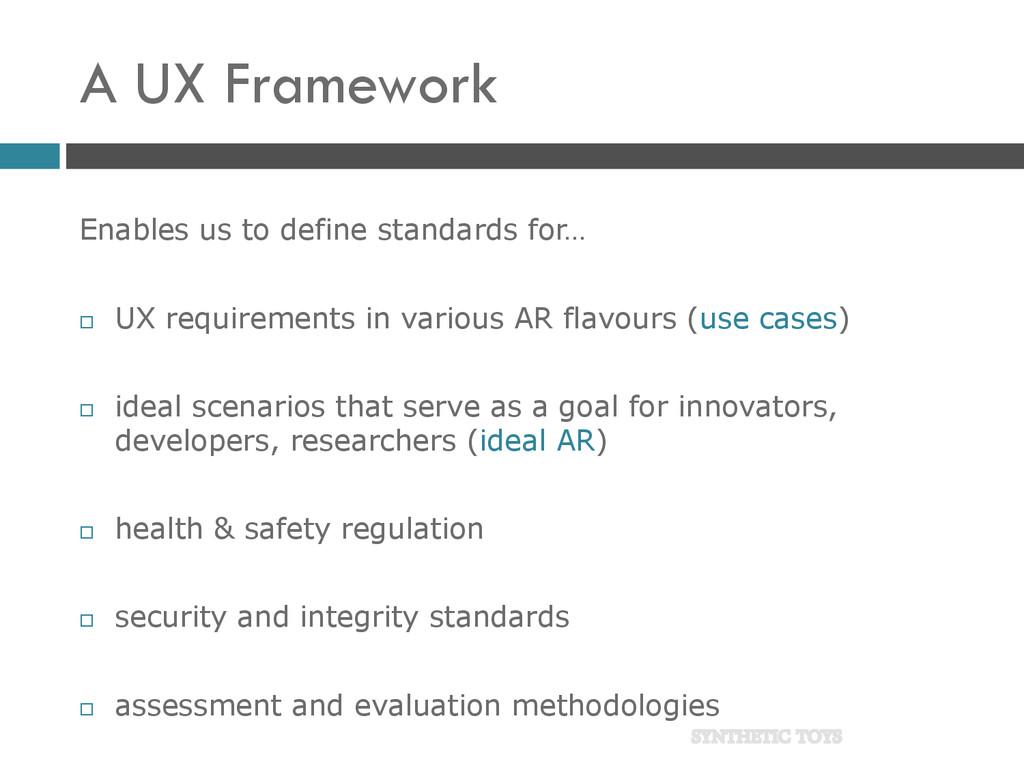 A UX Framework Enables us to define standards f...