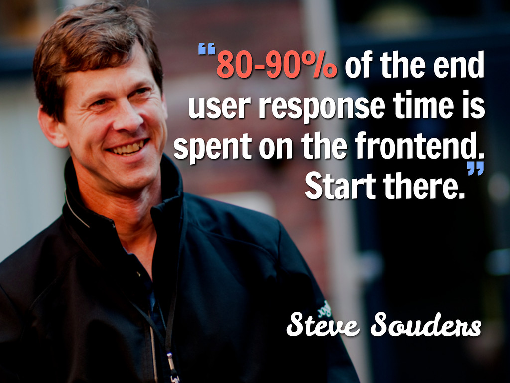 "Steve Souders ""80-90% of the end user response ..."