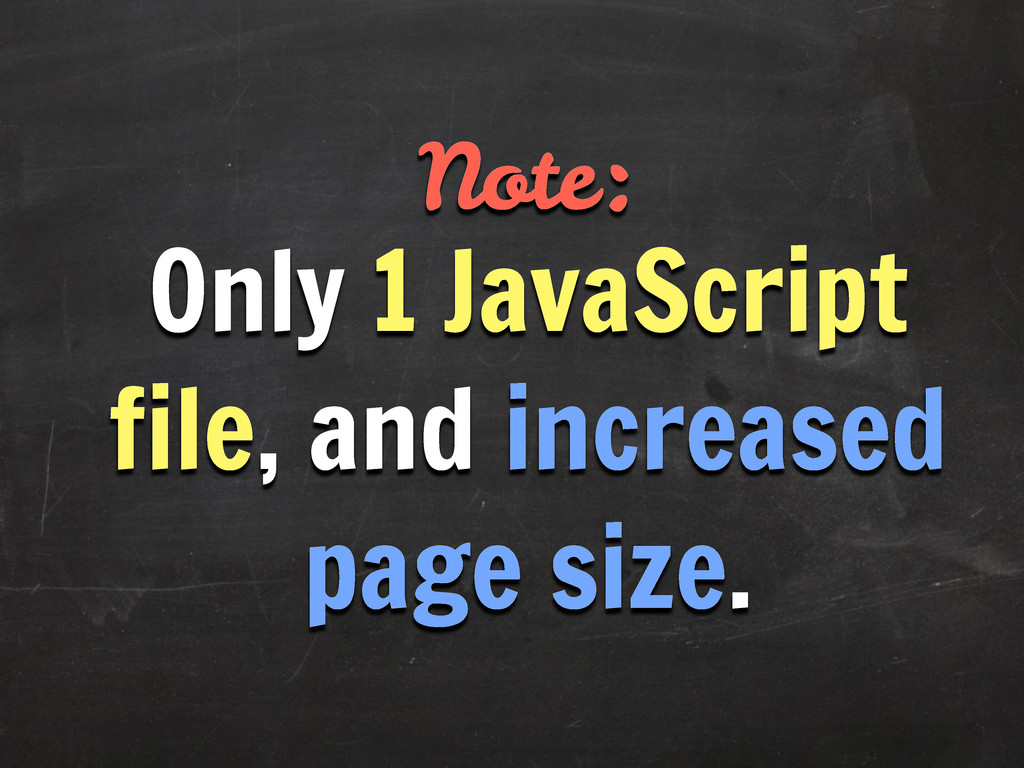 Note: Only 1 JavaScript file, and increased pag...