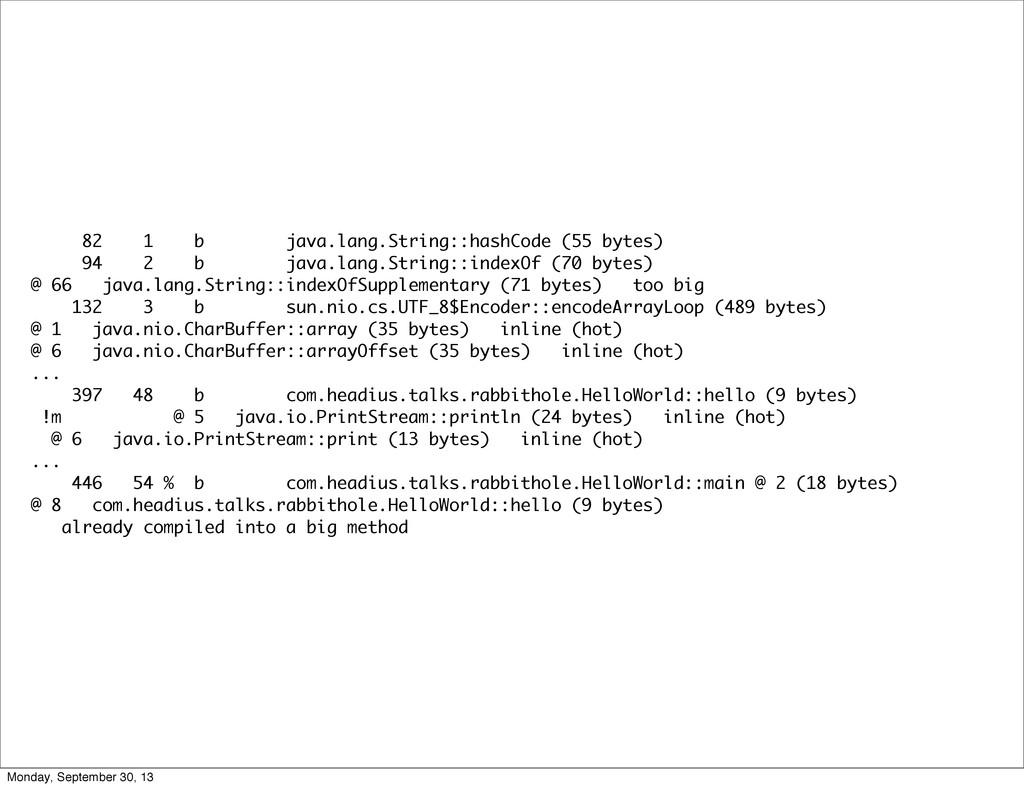 82 1 b java.lang.String::hashCode (55 bytes) 94...
