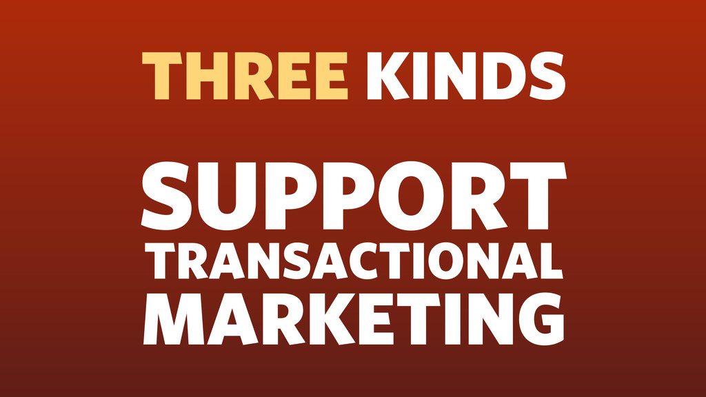 SUPPORT TRANSACTIONAL MARKETING THREE KINDS