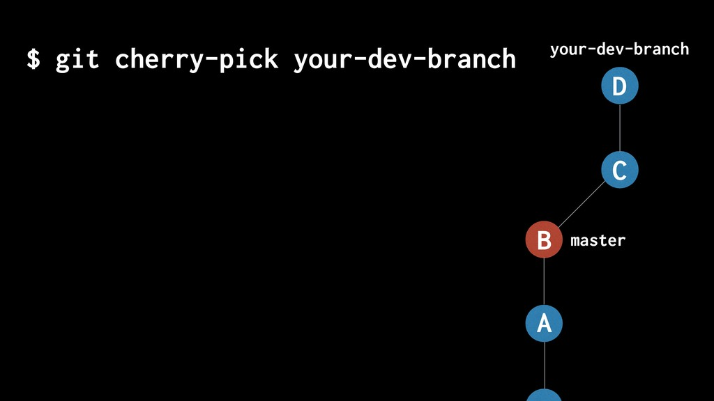 $ git cherry-pick your-dev-branch master your-d...
