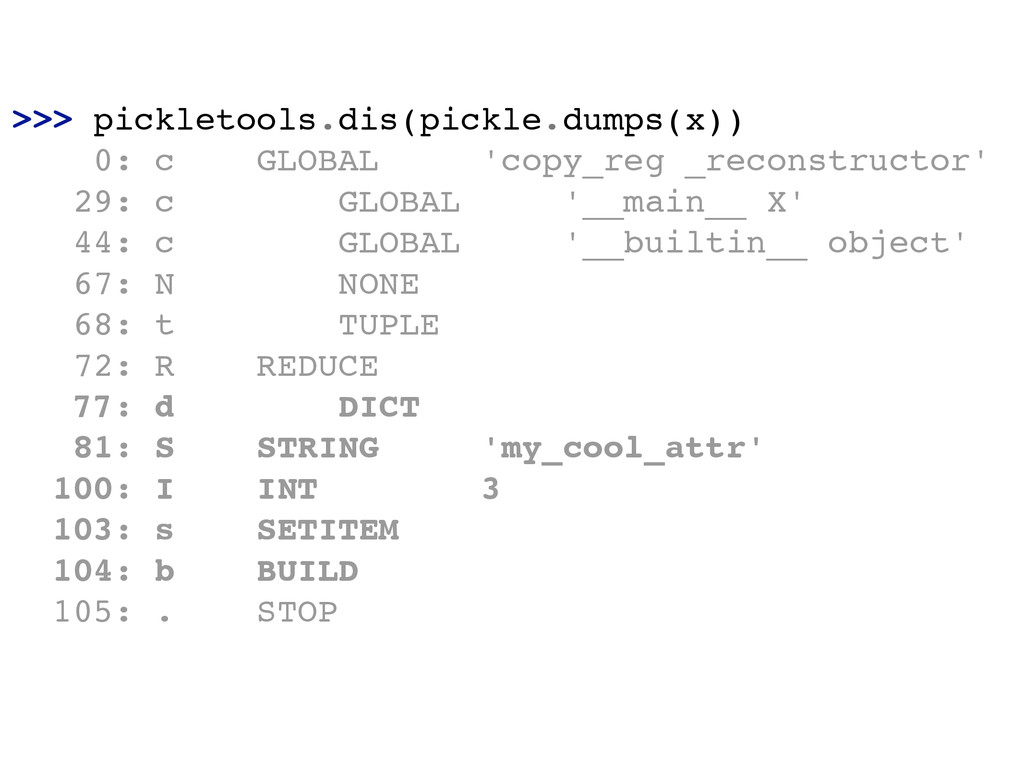 >>> pickletools.dis(pickle.dumps(x))! 0: c GLOB...