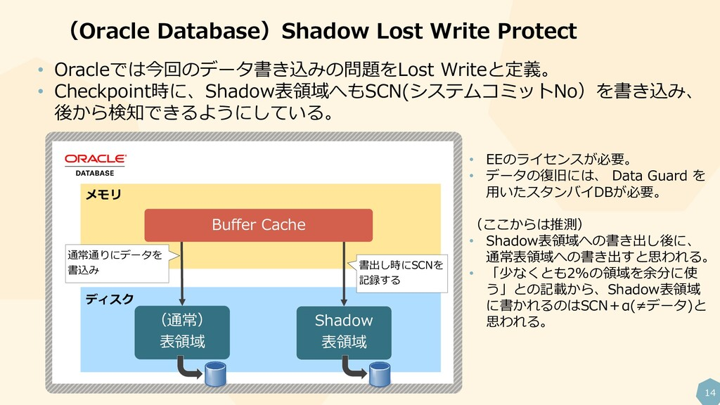 14 (Oracle Database)Shadow Lost Write Protect •...