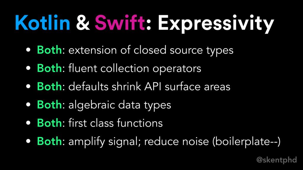 @skentphd Kotlin & Swift: Expressivity • Both: ...