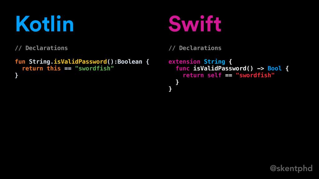 @skentphd Kotlin // Declarations fun String.isV...