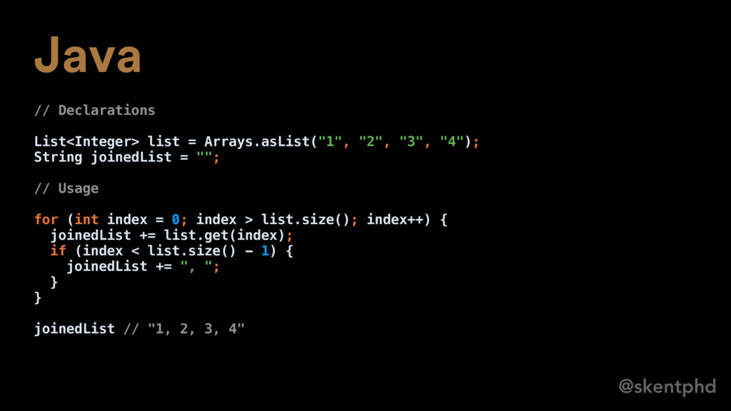 @skentphd Java // Declarations List<Integer> li...