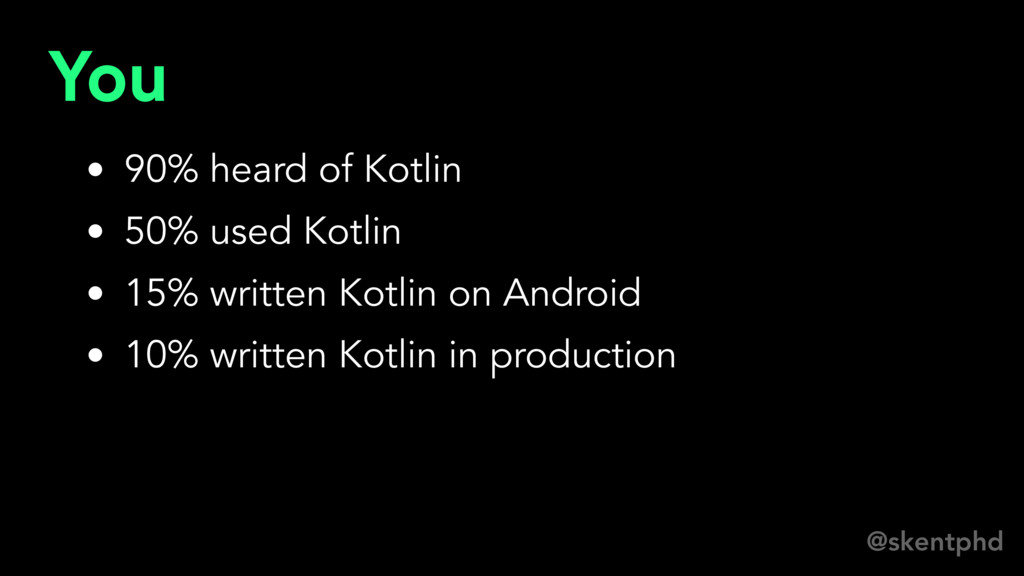 @skentphd You • 90% heard of Kotlin • 50% used ...