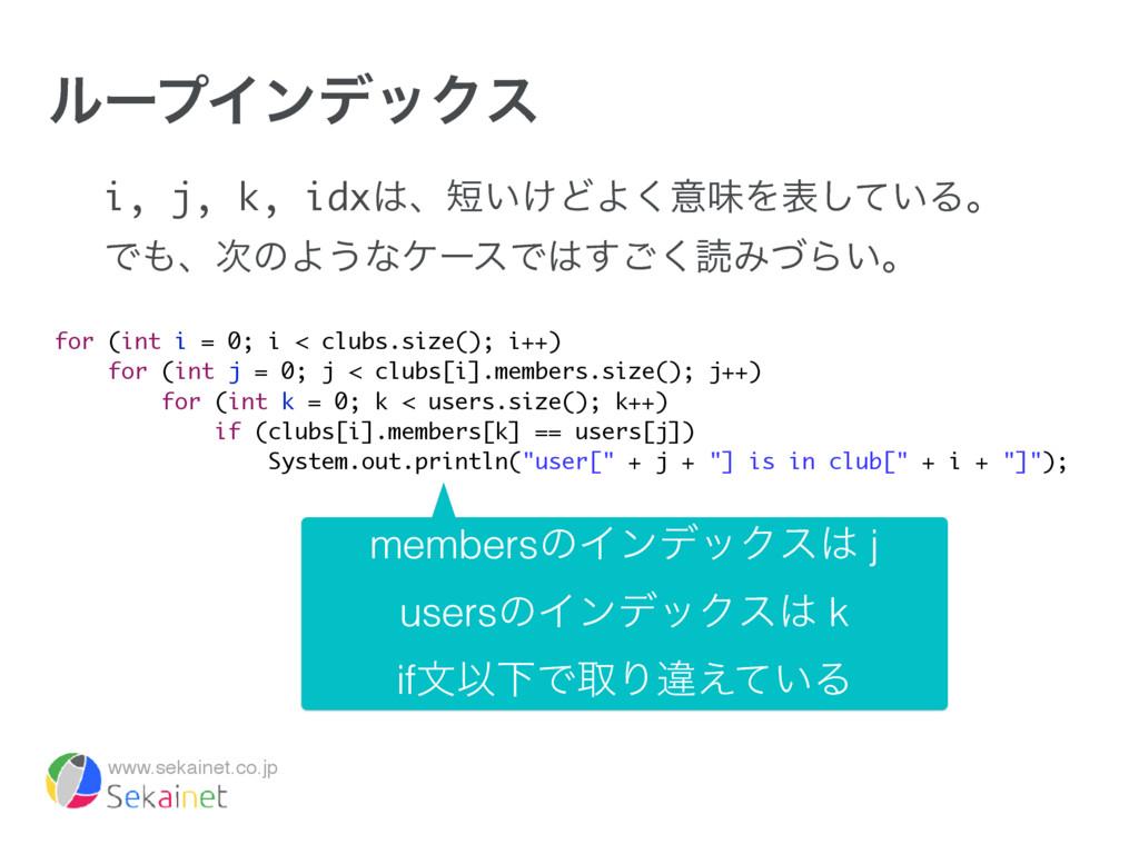 www.sekainet.co.jp ϧʔϓΠϯσοΫε i, j, k, idxɺ͍͚Ͳ...