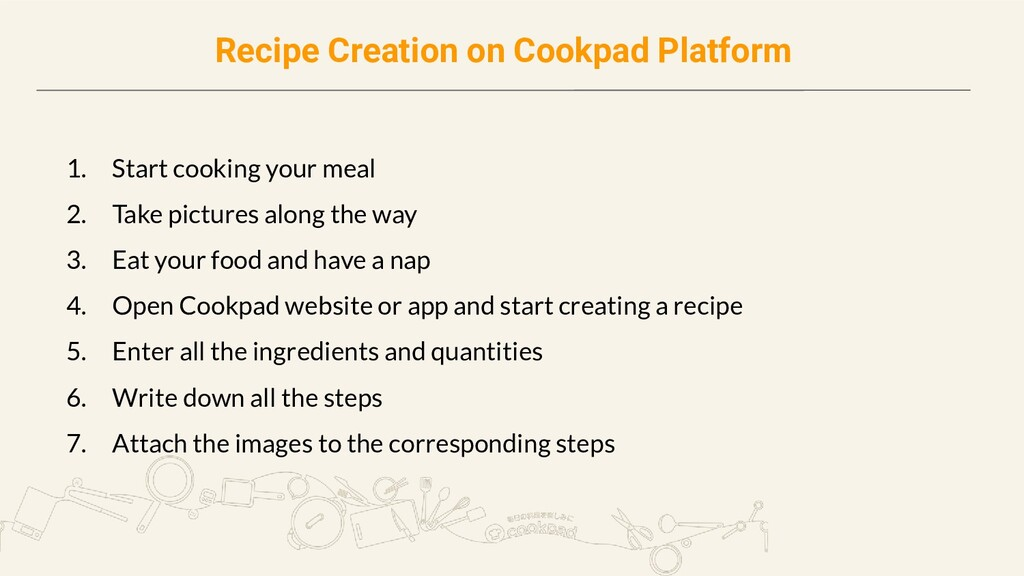 Recipe Creation on Cookpad Platform 1. Start co...