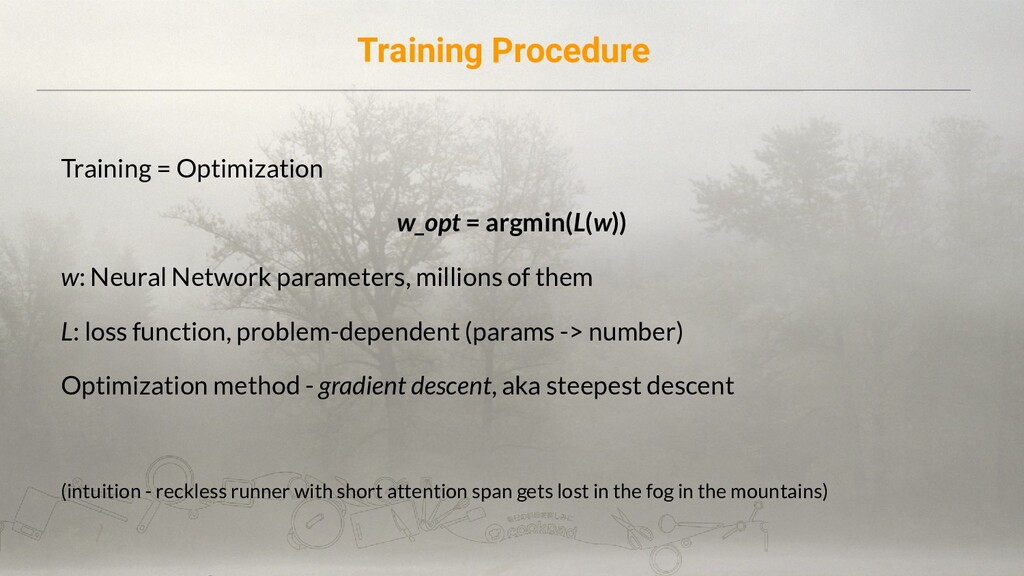 Training Procedure Training = Optimization w_op...