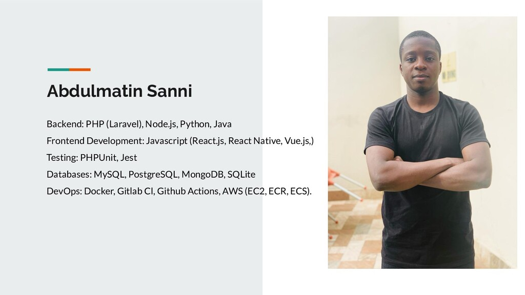 Abdulmatin Sanni Backend: PHP (Laravel), Node.j...