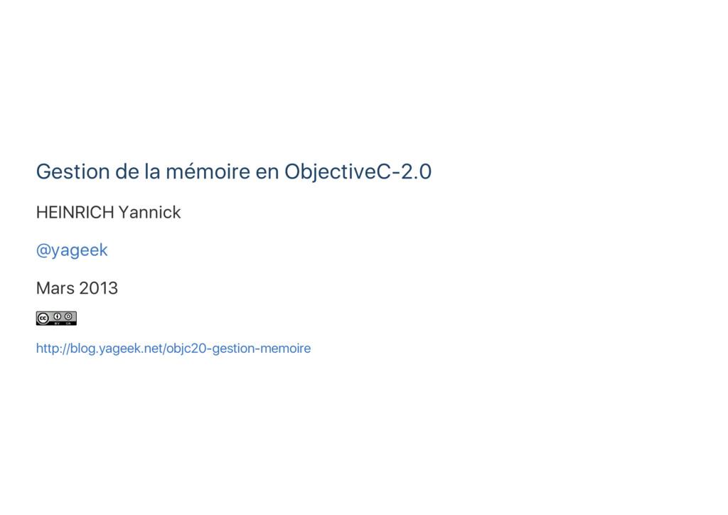 Gestion de la mémoire en ObjectiveC‑2.0 HEINRIC...