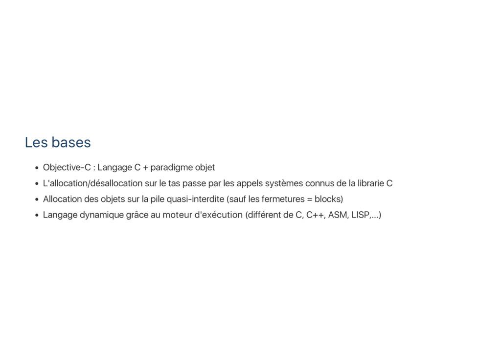 Les bases Objective‑C : Langage C + paradigme o...