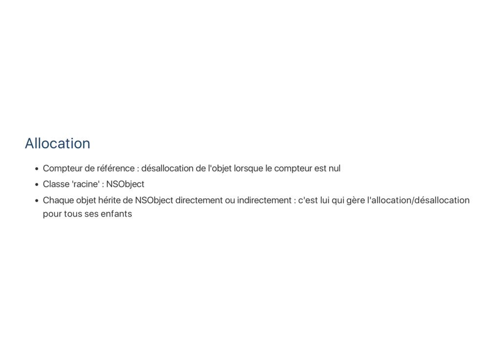 Allocation Compteur de référence : désallocatio...