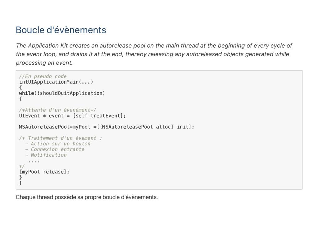 Boucle d'évènements The Application Kit creates...