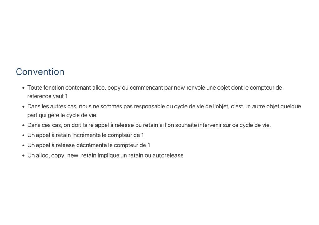 Convention Toute fonction contenant alloc, copy...