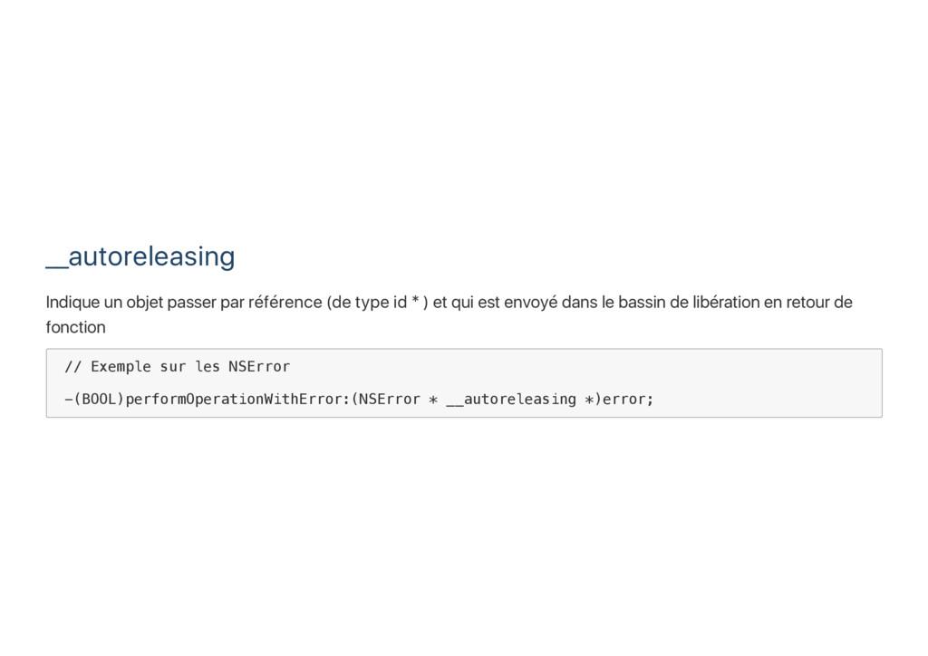 __autoreleasing Indique un objet passer par réf...