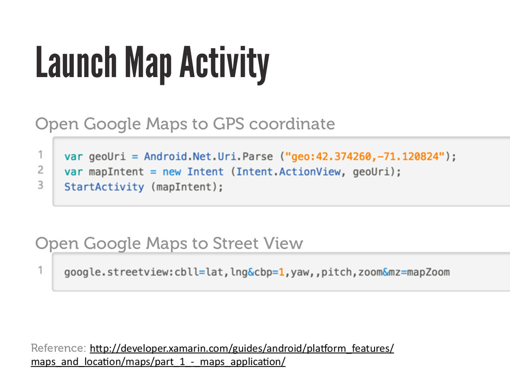 Launch Map Activity Open Google Maps to GPS coo...