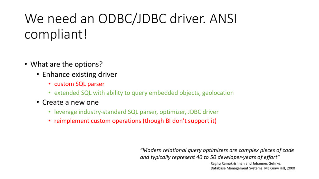 We need an ODBC/JDBC driver. ANSI compliant! • ...