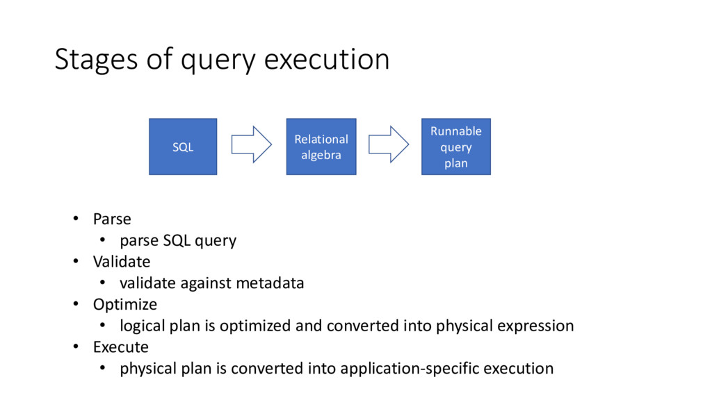 Stages of query execution • Parse • parse SQL q...