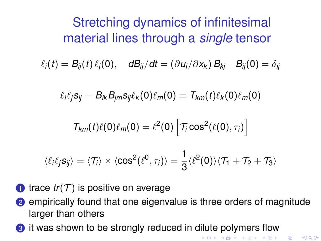 Stretching dynamics of infinitesimal material li...