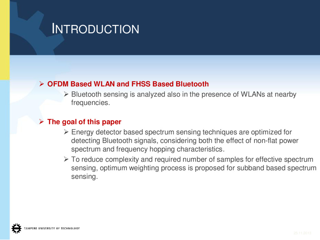 ¾ OFDM Based WLAN and FHSS Based Bluetooth ¾ Bl...
