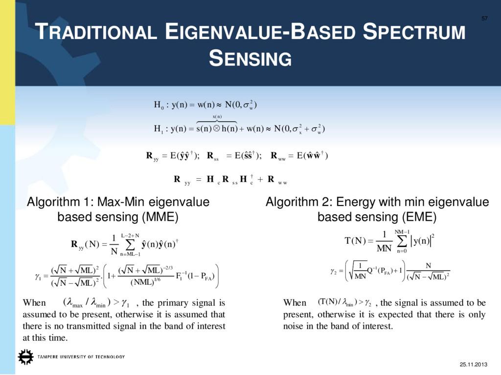 TRADITIONAL EIGENVALUE-BASED SPECTRUM SENSING 5...