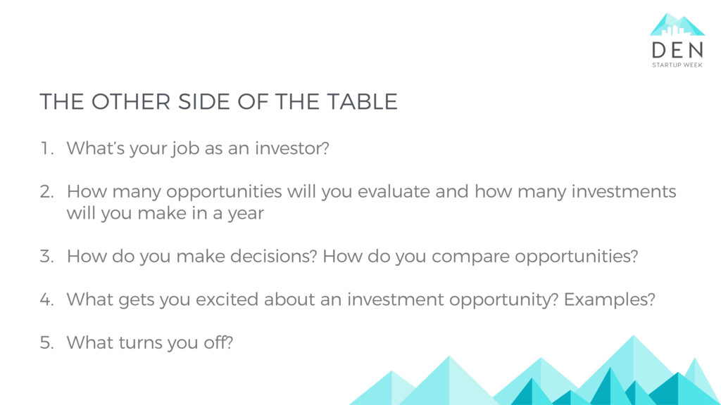 THE OTHER SIDE OF THE TABLE 1. What's your job ...