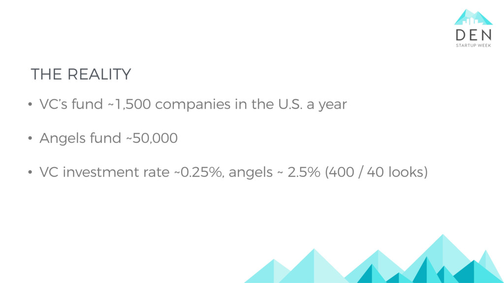 THE REALITY • VC's fund ~1,500 companies in the...