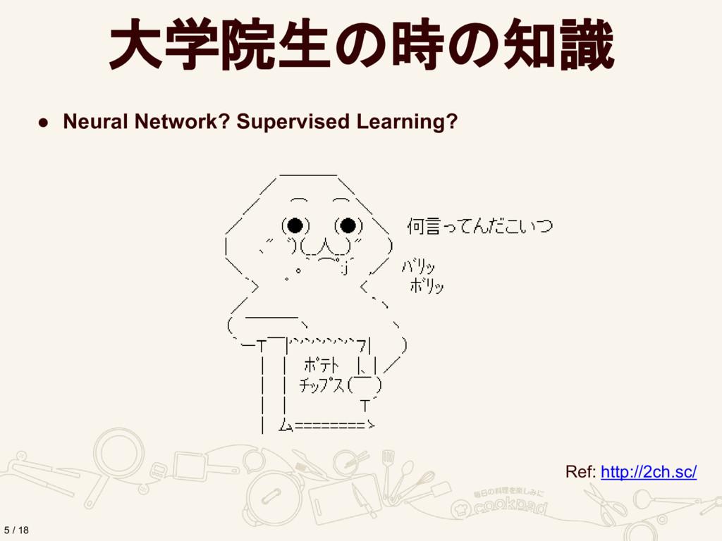 大学院生の時の知識 ● Neural Network? Supervised Learning...