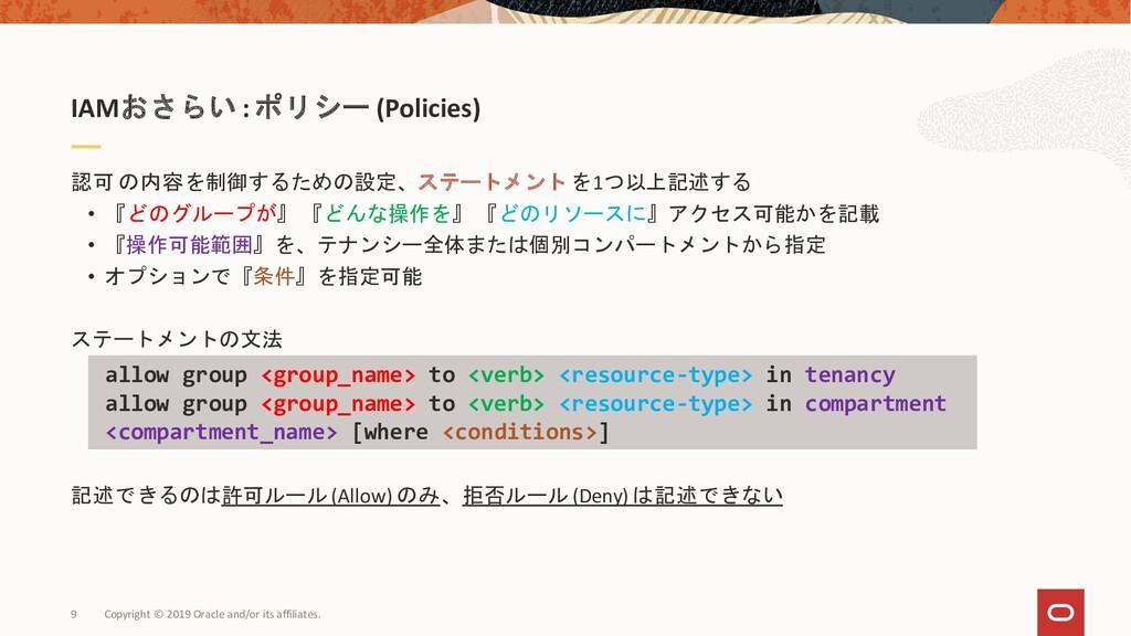 IAMおさらい :ポリシー (Policies) 認可 の内容を制御するための設定、ステートメ...