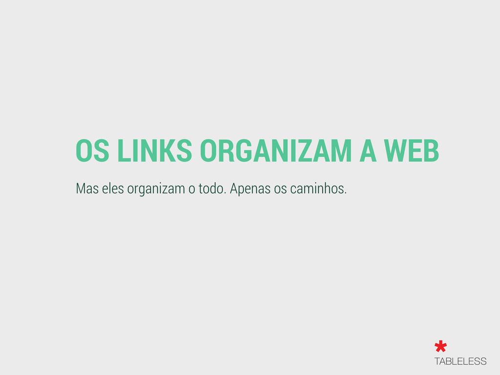 OS LINKS ORGANIZAM A WEB Mas eles organizam o t...
