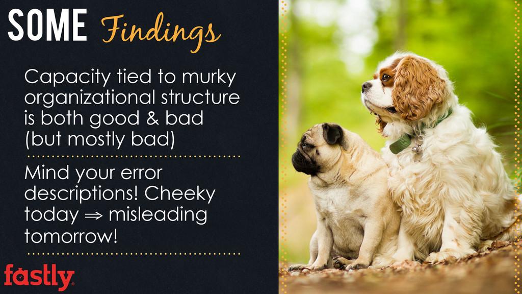 Some Findings Capacity tied to murky organizati...
