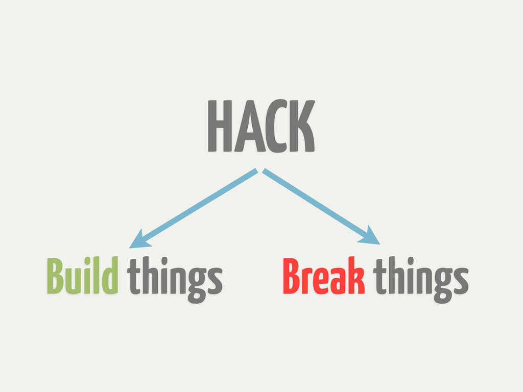 Build things HACK Break things