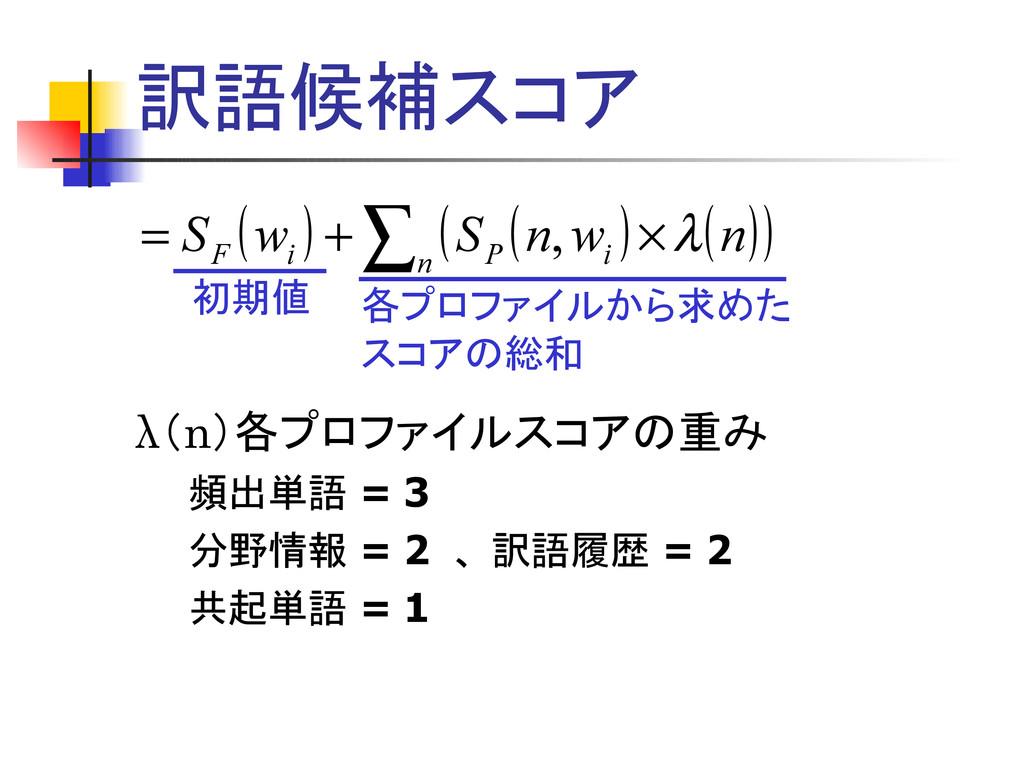 訳語候補スコア λ(n)各プロファイルスコアの重み   頻出単語 = 3   分野情報 = 2...