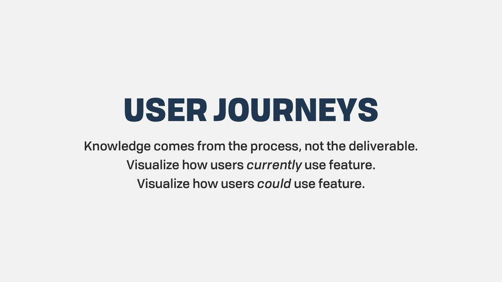 USER JOURNEYS Knowledge comes from the process,...