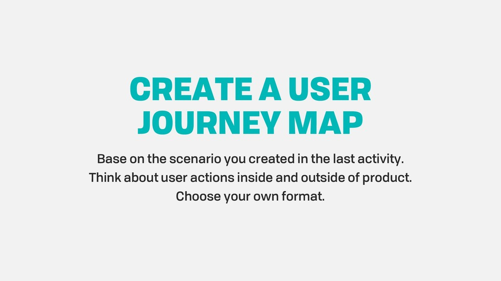 CREATE A USER JOURNEY MAP Base on the scenario ...