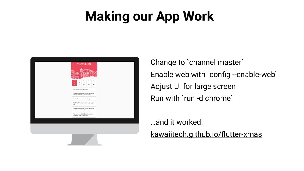 Making our App Work Change to `channel master` ...
