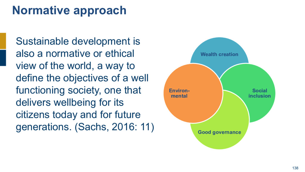138 Sustainable development is also a normative...