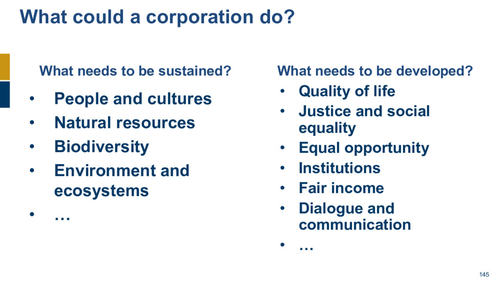 145 What could a corporation do? • People and c...